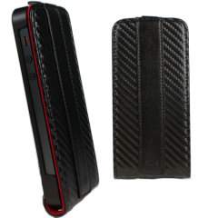 iPhone 5 Executive Carbon Fibre Flip Case - Black