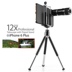 iPhone 6S Plus / 6 Plus 12x Zoom Telescope with Tripod Stand - Black