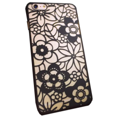 iPhone 6S TPU Floral Gel Case - Black