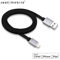 Just Mobile AluCable 4ft / 1.2m Flat Lightning Cable - Black / Silver