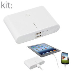 Kit: High Power 10,000mAh Dual USB Portable Charger - White