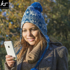 KitSound Audio Beanie Peruvian Knit Pom Pom - Navy / Cream