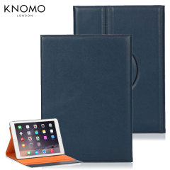 Knomo Premium Folio iPad Air 2 Leather Wallet Case - Blue