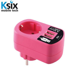 Ksix 3.1A Dual USB and EU Mains Charger - Pink