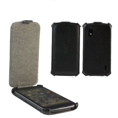 Leather Flip Case for Google Nexus 4 -  Black