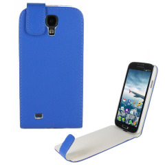 Leather Style Flip Case for Samsung Galaxy S4 - Blue