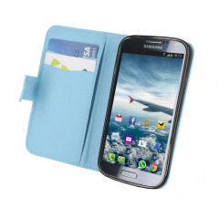 Leather Style Folio Case for Samsung Galaxy S4 - Egg Shell Blue