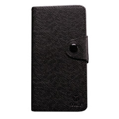 Leather-Style Wallet Case for BlackBerry Z10 - Black / Brown