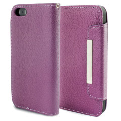 Leather Style Wallet Case for iPhone 5 - Purple