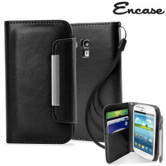 Leather Style Wallet Case for Samsung Galaxy S3 Mini - Black