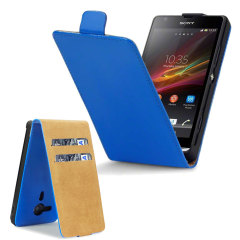 Leather Style Wallet Flip Case for Sony Xperia SP - Blue