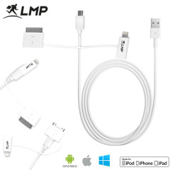 LMP 3-in-1 Charge & Sync Cable for Lightning, Micro USB & Apple 30-pin