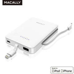 Macally 3000mAh Power Bank with Lightning and Micro USB Cables
