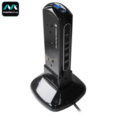 Masterplug Surge Protected 10 Plug Power Tower with Dual USB