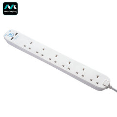 Masterplug Surge Protected 13A 6x Socket Power Bar & 2x USB Ports