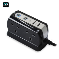 Masterplug Surge Protected 4 Plug Power Block with Dual USB - Black