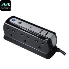 Masterplug Surge Protected 6 Plug Power Block - Black