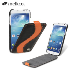 Melkco Leather Flip Case For Samsung Galaxy S4 - Black/Orange