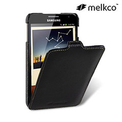 Melkco Premium Leather Flip Case for Samsung Galaxy Note - Black