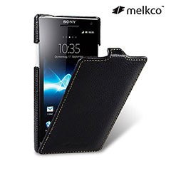 Melkco Premium Leather Flip Case for Sony Xperia S - Black