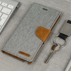 Mercury Canvas Diary Samsung Galaxy Note 7 Wallet Case - Grey / Camel