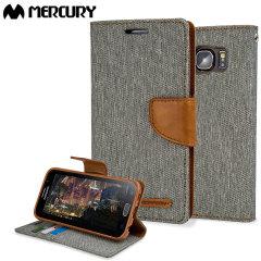 Mercury Canvas Diary Samsung Galaxy S6 Wallet Case - Grey / Camel