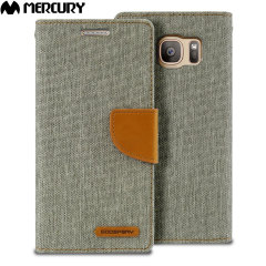 Mercury Canvas Diary Samsung Galaxy S7 Wallet Case - Grey / Camel