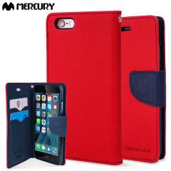 Mercury Goospery Fancy Diary iPhone 6S / 6 Wallet Case - Red / Navy
