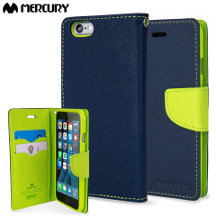 Mercury Goospery Fancy Diary iPhone 6S Plus / 6 Plus Case - Navy/Lime