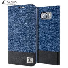 Metal-Slim Denim Style Samsung Galaxy S6 Wallet Case  - Blue / Black