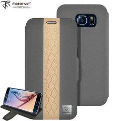 Metal-Slim Diamond Samsung Galaxy S6 Wallet Case - Grey / Gold