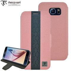 Metal-Slim Diamond Samsung Galaxy S6 Wallet Case - Pink / Grey