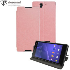 Metal-Slim Sony Xperia C3 Leather-Style Case with Stand - Pink