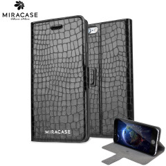 Miracase Croco iPhone 6 Leather-Style Stand Case - Black