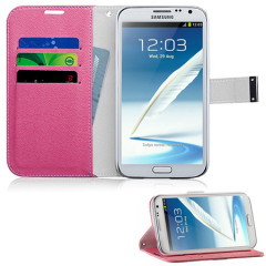 Momax Galaxy Note 2 Wallet Stand Case - Pink / White