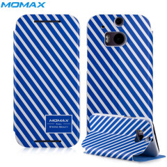 Momax HTC One M8 Flip Stand Case - Blue Stripes