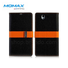 Momax Z10 Flip Diary Lattice Series for BlackBerry Z10 - Black/Orange
