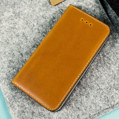 Moncabas Classic Genuine Leather iPhone SE Wallet Case - Camel Brown