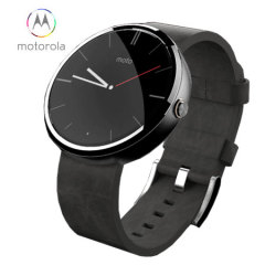 Motorola Moto 360 SmartWatch - Black Leather