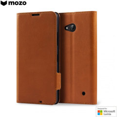 Mozo Classic Leather Style Microsoft Lumia 640 XL Wallet Case - Brown