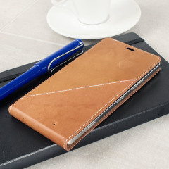 Mozo Microsoft Lumia 950 Genuine Leather Flip Cover - Cognac