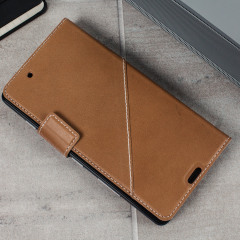 Mozo Microsoft Lumia 950 Genuine Leather Wallet Flip Cover - Cognac