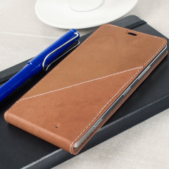Mozo Microsoft Lumia 950 XL Genuine Leather Flip Cover - Cognac