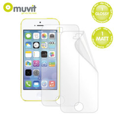 Muvit 2 Pack Screen Guard / Protector for iPhone 5C - Matt & Glossy