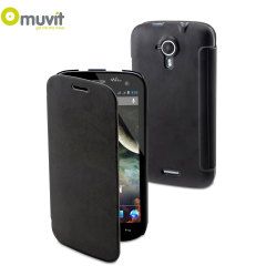 Muvit Easy Folio Leather-Style Wiko Darkmoon Case - Black