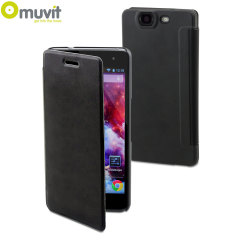 Muvit Easy Folio Leather-Style Wiko Highway Case - Black