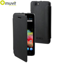 Muvit Easy Folio Leather-Style Wiko Rainbow Case - Black