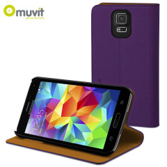 Muvit Folio Stand Case for Samsung Galaxy S5 - Violet / Orange