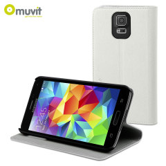 Muvit Folio Stand Case for Samsung Galaxy S5 - White