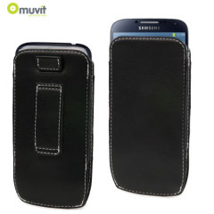 Muvit Samsung Galaxy S4 Leather Style Pouch - Black